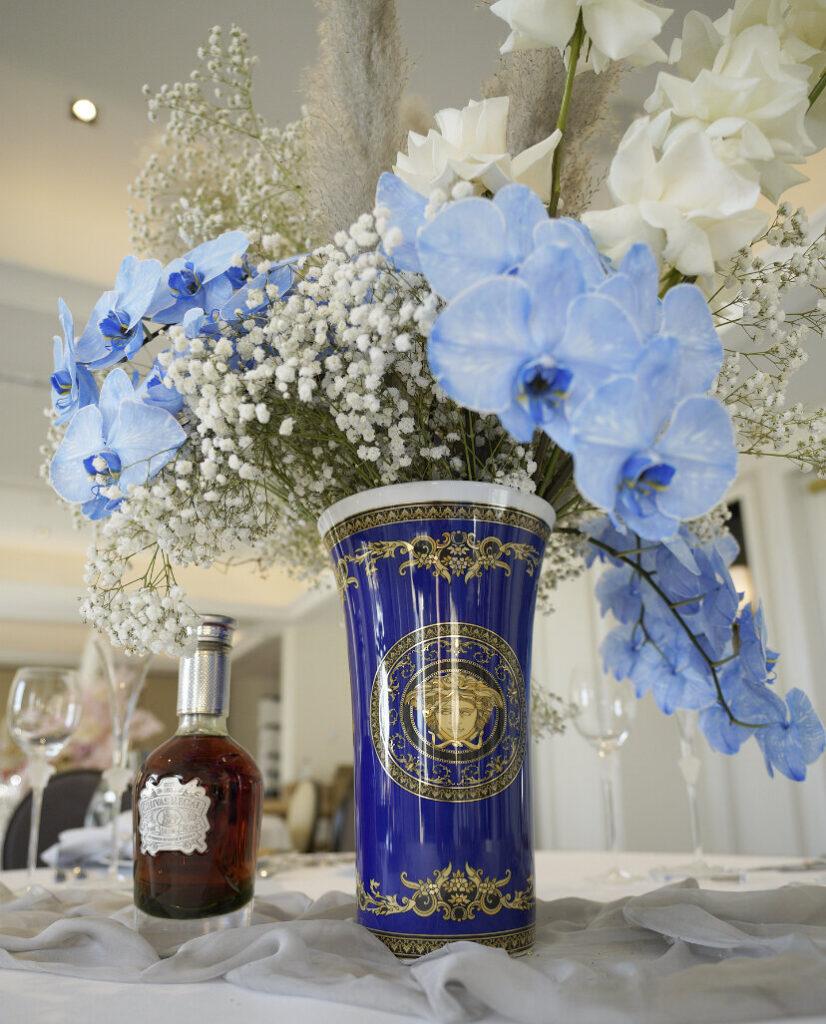 Medusa Blue-Versace-Vase-Hire-With-Flowers
