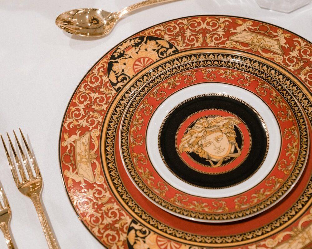 Medusa Red - versace dinnerware cutlery hire